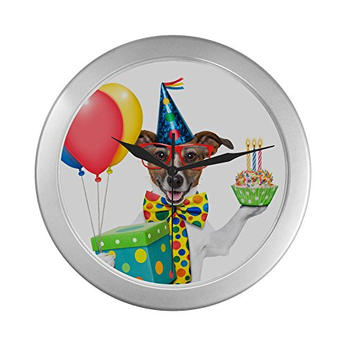 Birthday Party Dog - Novelty Dog lovers Silver Lined Wall Clock