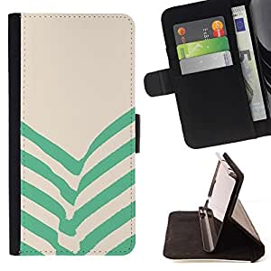 For Sony Xperia Z3 D6603 Case , Verde Beige Rayas Líneas- la tarjeta de Crédito Slots PU Funda de cuero Monedero caso cubierta de piel