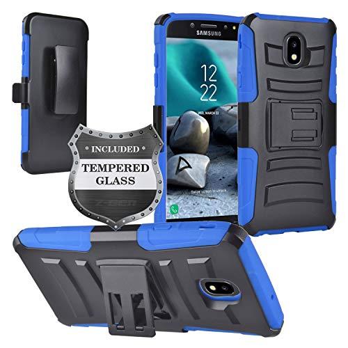Z-GEN - Galaxy J7 2018, J7 Refine, J7 Star, J7 Crown, J7 Aura, J7 Top, J7 V J7V 2nd Gen J737 - Hybrid Phone Case w/Stand/Belt Clip Holster for Samsung + Tempered Glass Screen Protector - CV1 Blue