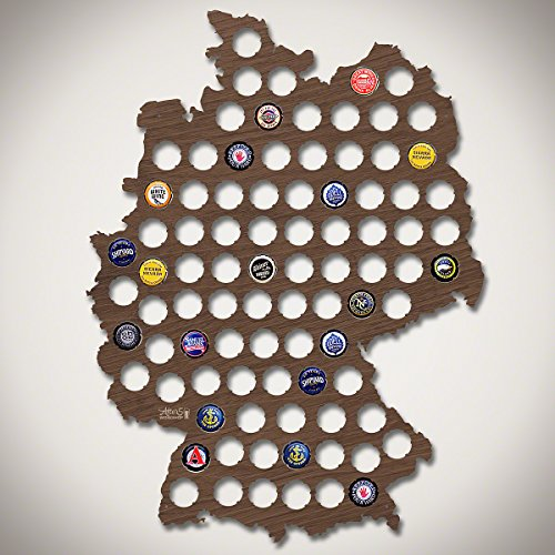 Germany Beer Cap Map - Walnut Stain