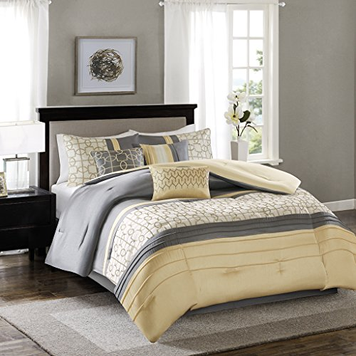 Madison Park Bradford King Size Bed Comforter Set Bed In A Bag - Yellow, Grey, Geometric Embroidery – 7 Pieces Bedding Sets – Faux Silk Bedroom Comforters ()