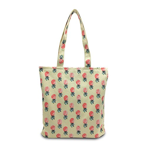 Mziart Lovely Pineapple Fruit Canvas Tote Stylish Shoulder Bag Zipper Foldaway Travel Shopping Bag Beige Trendy Canvas Tote