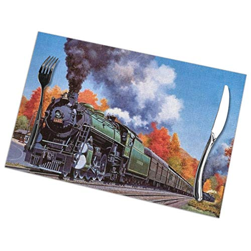 (Steam Trains Placemats Set Of 6 For Dining Table Washable Kitchen Table Mats Easy To Clean)