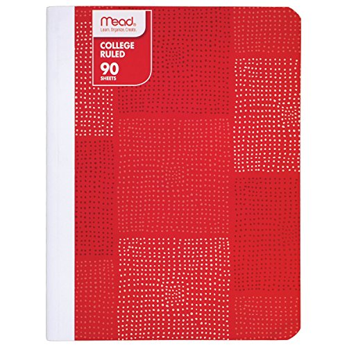 Mead Composition Book/Notebook, College Ruled Paper, 90 Sheets, Fashion, Red (09606BB8)