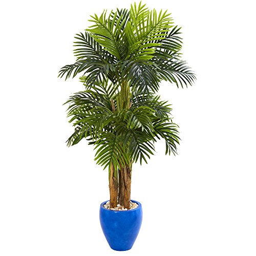 (Nearly Natural 5668 5' Triple Areca Palm Tree in Glazed Blue Planter Artificial Plant,)