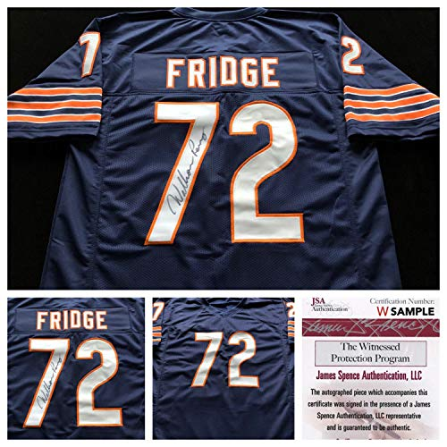 - William Perry Chicago Bears Autographed Signed Blue Fridge Football Jersey JSA Coa - Size XL