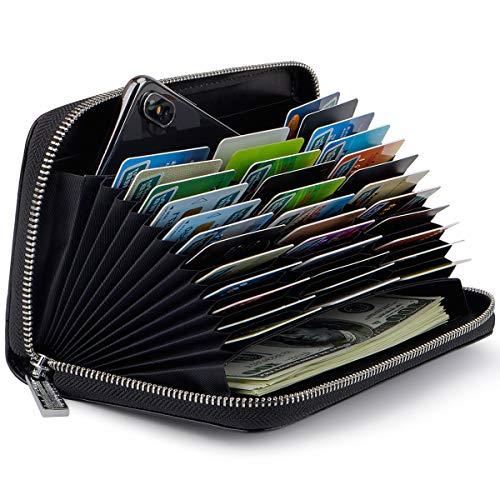 Credit Card Wallet Soft Leather RFID Blocking Card holder Case Zipper Purse Handbag for Women or Men (Black)