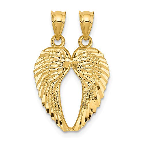 14k Yellow Gold Break Apart Wings Pendant Charm Necklace Religious Angel Fine Jewelry Gifts For Women For - Heart Charm Apart Break