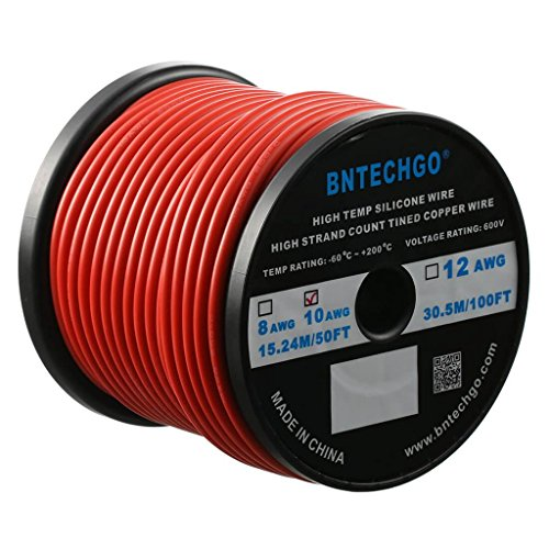 BNTECHGO 10 Gauge Silicone Wire Spool Red 50 feet Ultra Flexible High Temp 200 deg C 600V 10 AWG Silicone Rubber Wire 1050 Strands of Tinned Copper Wire Stranded Wire for Model Battery Low Impedance
