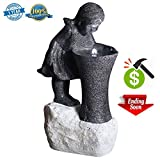 Cast Stone Outdoor Water Fountains 31.5'' Large Fiberglass Decorative Water Fountains For Garden/Balcony/Yard