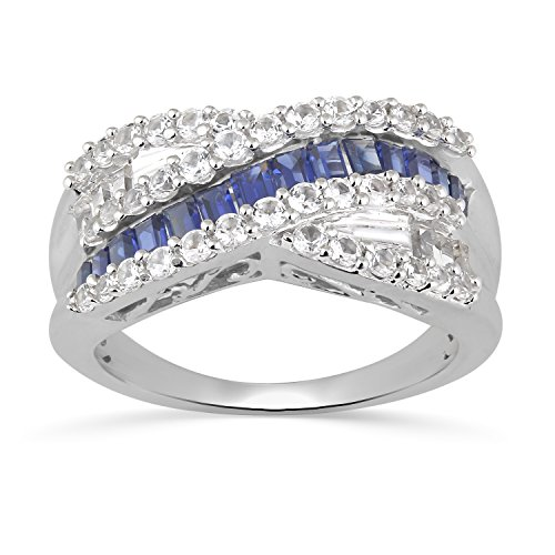 (Jewelili Sterling Silver Baguette Created Ceylon Sapphire and Round Created White Sapphire Crossover Ring, Size 7)