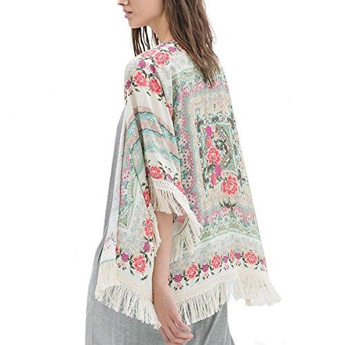 Minetom Bohemienne Style Femmes Rétro été Floral vrac glands châle Kimono Shirt Cardigan Veste Manteau