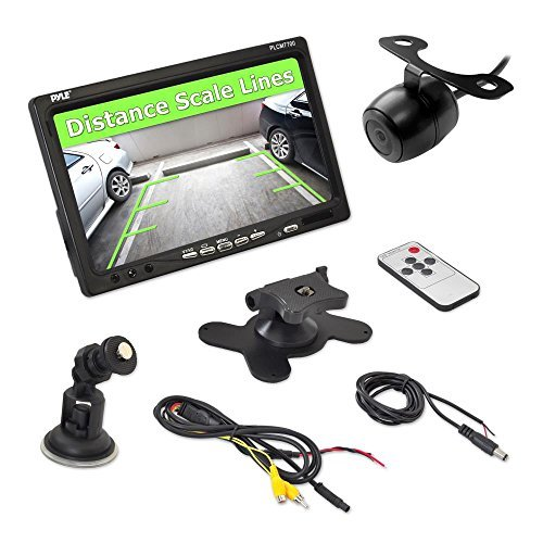 Pyle Backup Rear View Car Camera Screen Monitor System - Parking & Reverse Safety Distance Scale Lines, Waterproof, Night Vision, 170° View Angle, 7'' LCD Video Color Display for Vehicles - (PLCM7700) by Pyle