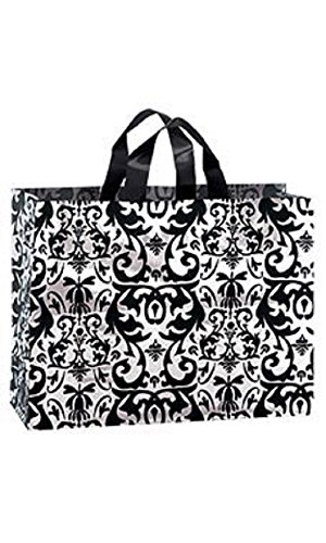 Large Black Damask Frosted Plastic Shopping Bags - Case of 100 by STORE001
