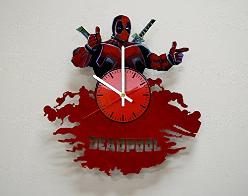 (Taniastore Deadpool HANDPAINTED Vinyl Record Wall Clock - Get Unique Home or Office Wall Decor - Gift Ideas For His and Her - Marvel Comics Superhero Unique Art)