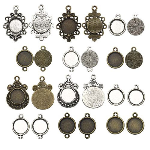 (Youdiyla 60 PCS Mixed 12mm Round Pendant Trays, Blank Bezel Cabochons Dome Base Setting Frame Cameo Metal Charms Jewelry Making DIY Findings (HM127))