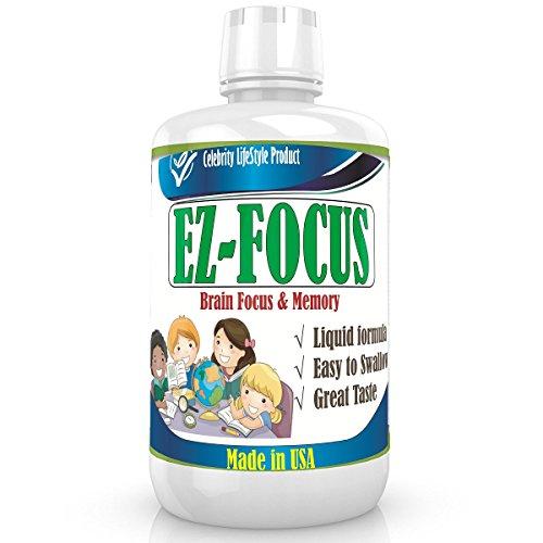 'Ez-Focus' Liquid Brain Focus & Memory Formula for Kids & Teens, Improve Attention, Cocentration, Focus for Children & Teens,Best Great Taste Sugar Free Caffeine Free Calming Supplement, School Help