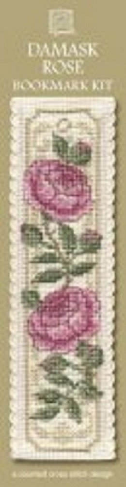 Textile Heritage Damask Rose Counted Cross Stitch Bookmark Kit