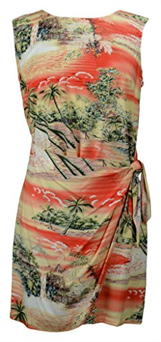 RJC Women's Tranquil Beach Short Hawaiian Mock Wrap Sarong Rayon Dress Orange XL (Tranquil Dress Tank)