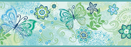 Chesapeake TOT46453B Fantasia Blue Boho Butterflies Scroll Wallpaper Border