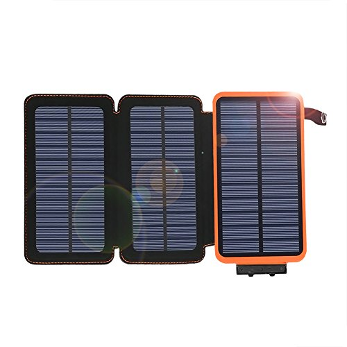 AUKUK Portable Solar Charger Waterproof 24000mAh ADDTOP Power Bank with 3 Foldable Solar Panels Portable Battery Pack 2 USB For iPhoneX,iPad,All Smartphone, Outdoor Camping Travelling by AUKUK