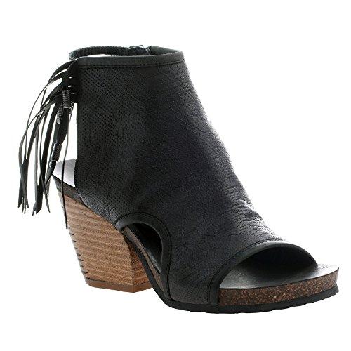 OTBT Frauen Free Spirit Offener Zeh Leder Fashion Stiefel Black