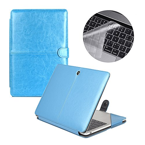 Se7enline Macbook Pro with/without Touch Bar Case Premium Quality PU Leather Book Cover Folio Case for New Macbook Pro 2016 13 inch Model A1706/A1708 with Silicone Transparent Keyboard Cover, Blue (Leather Notebook Case Model)