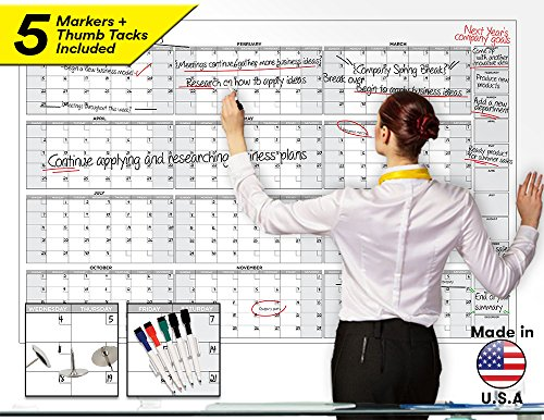 Large Dry Erase Wall Calendar - 58' x 38' - Blank 2018-2019 Reusable Annual Planner - Academic Fiscal Year Office Project 12 Month Poster - Laminated Giant Jumbo Oversized Erasable Undated Calander