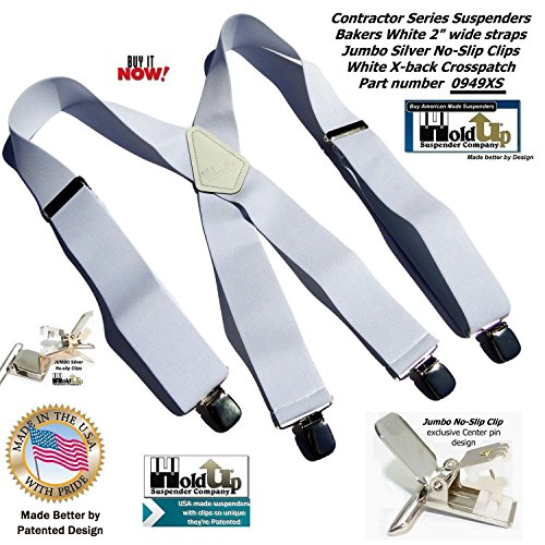Contractor Series 2'' Wide Work X-back Suspenders in Bakers White with jumbo No-Slip Patented Clips by Hold-Up Suspender Co. (Image #2)