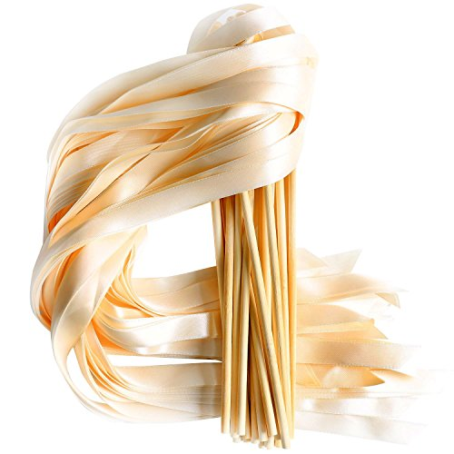 (LaRibbons 20pcs Single Color Ribbons Wand Sticks Wedding Party Favor)