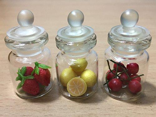 3pc Miniature Fruit Food Vegetable Dollhouse Fruit in Clear Glass Mini Bottle fruit mix Lemon #MF005