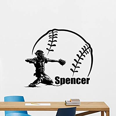 Personalized Name Baseball Wall Decal Custom Gym Fitness Motivational Fitness Vinyl Sticker Inspirational Wall Decor Fitness Motivation Quote Sport Wall Art Training Workout Wall Mural 357xxx