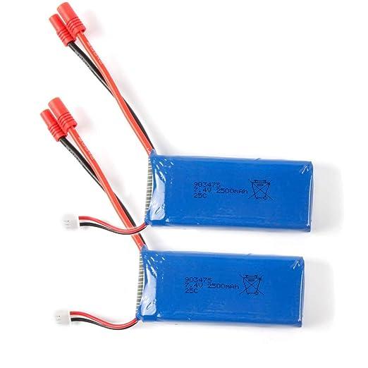 2 piezas 7,4 V 2500 mAh 25 C mejoradas batería para Syma X8C X8W X8G