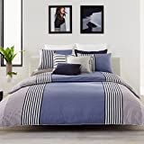 Lacoste Meribel Blue and Grey Colorblock Striped Brushed Twill Duvet Set, Twin/Twin Extra Long