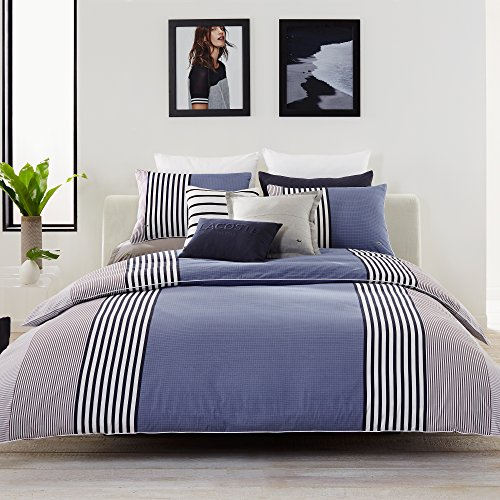 Lacoste Meribel Blue and Grey Colorblock Striped Brushed Twill Comforter Set, King