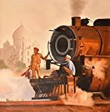 Steam Engine Against Taj Mahal - Oil Painting on Canvas - Artist: Anup Gomay