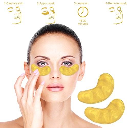 Gold Collagen Eye Mask. Original 24K gold powder luxury eye mask that help reduce puffiness and remove dark circles. (5 Pack)