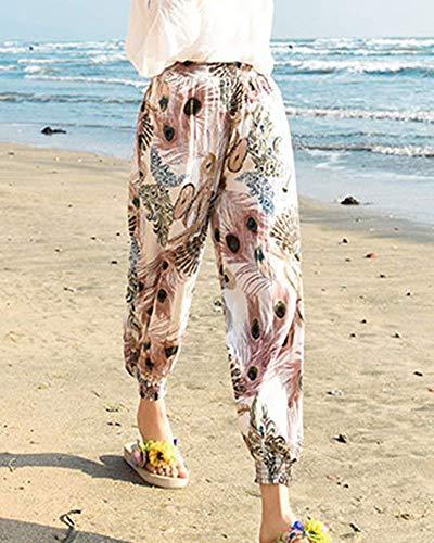 Tempo Waist Libero Stampate Pattern tasca Stoffa High Tendenza Eleganti Ragazza Khaki Con Elastica Donna Di Multi Spiaggia Lunga Trousers Estivi Basic Harem Baggy Pantaloni qwxStIA6w