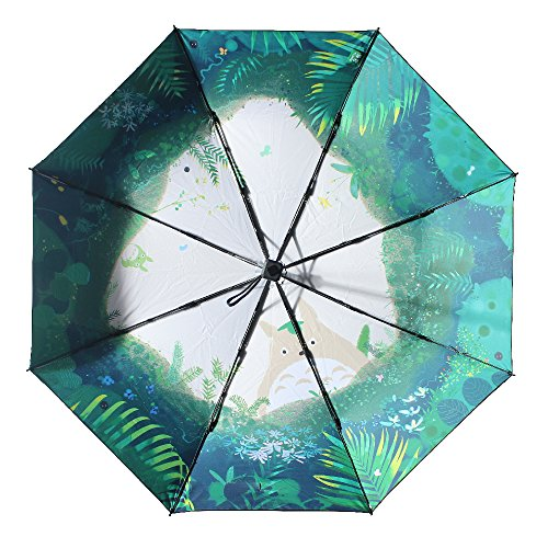 Molshine Anti-skid Matte Handle Rainning And Anti-UV Folding Umbrella for Women (Totoro)