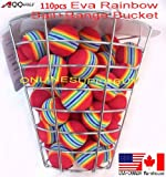 110pcs Golf EVA Rainbow ball foam ball practice golf training aids with metal wire range bucket