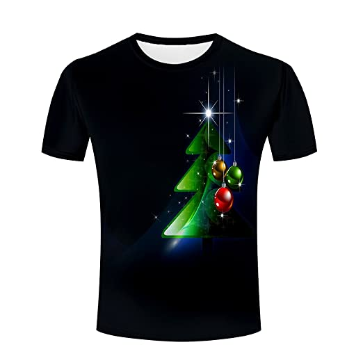 3ba9709885e8 Unisex 3d Printed Christmas Tree Pattern Men Summer Short Sleeve T-shirts S
