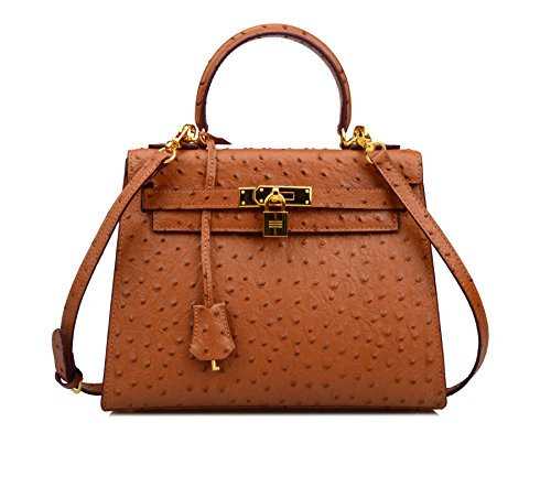 Embossed Ainifeel Leather Genuine Bag Handbag Shoulder Brown Hobo Padlock Ostrich Purse Women's rcx7WZqIHr