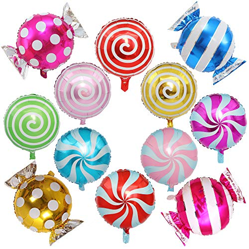 Sweet Candy Balloon Set Candies Theme Swirl Helium Mylar Foil Balloons Party Birthday Decor Supplies Round Daughters 12 Pcs Christmas -
