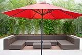 New MTN Gearsmith Deluxe 10′ Outdoor Patio Beach Garden Umbrella Shade with Crank and Air Vent Garnet For Sale