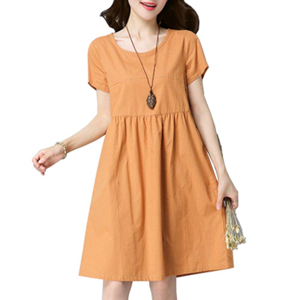Women Cotton Linen Oversized Dress Short Sleeves High Waist Loose A-line Big Swing Pure Color Dress Summer