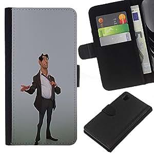 KingStore / Leather Etui en cuir / Sony Xperia Z1 L39 / Stock Broker Hombre Traje de oficina con estilo Art 3D