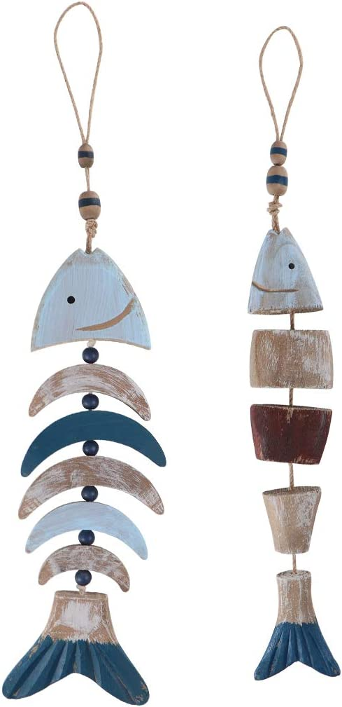 MDLUU Wooden Fish Decor, Hanging Fish Chime, Hand Carved Fish Wall Decor for Nautical Theme, Beach Theme, Lake House, Pack of 2