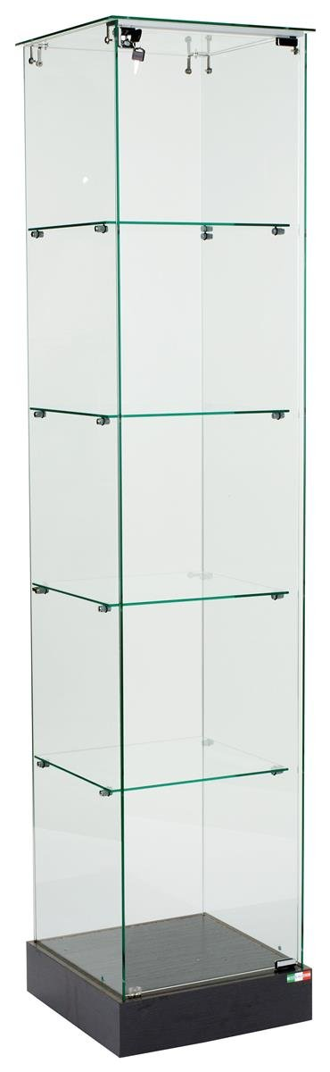 Glass Square Tower Display and Black MDF Base, with Locking Hinged Door and Hidden Wheels by Displays2go
