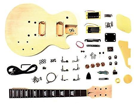 Guitarra eléctrica de LP Proyecto kit de bricolaje con el cuerpo de tilo tallada: Amazon.es: Instrumentos musicales