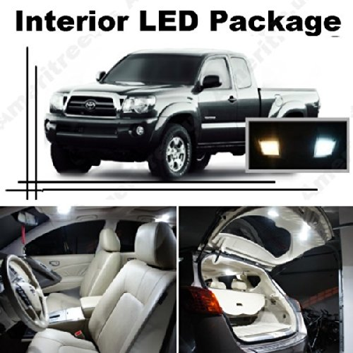 Ameritree Toyota Tacoma 2007-2014 (5 Pcs) Xenon White LED Lights Interior Package and White LED License Plate Kit (Kit Accessory Dome)